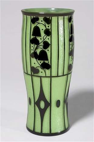 Loetz vase, Josef Hoffmann,green w/black design, 1