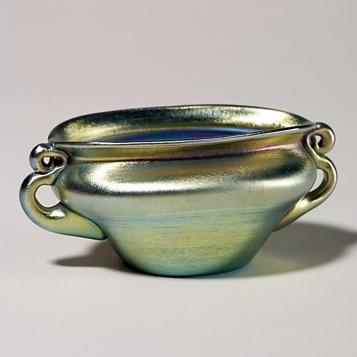 1048: Tiffany bowl, blue, 2 scroll handles, oblong, sig