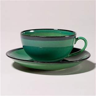 Rookwood cup & saucer, green edged with black, x