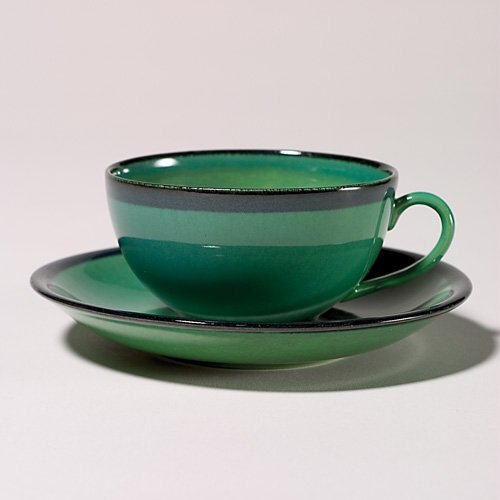 1105: Rookwood cup & saucer, green edged with black, x