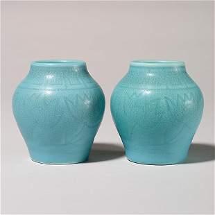 "Rookwood pair of 3 3/4"" blue w/red tinge vases d"