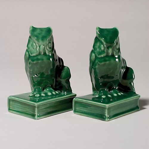 "1118: Rookwood  ""Owl on Book"" bookends, 1954, 5 1/2"""