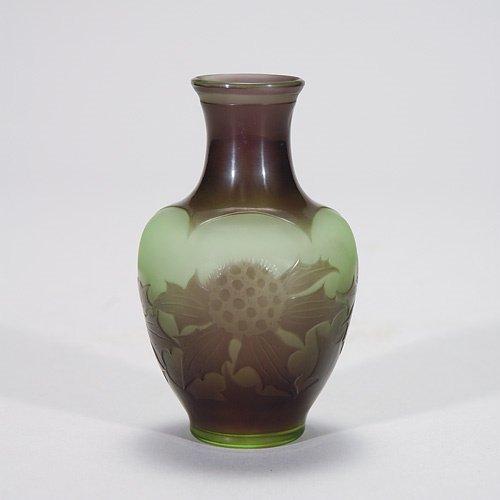 407: D'Argental cameo vase, thistles, grey-green, 3 7/8
