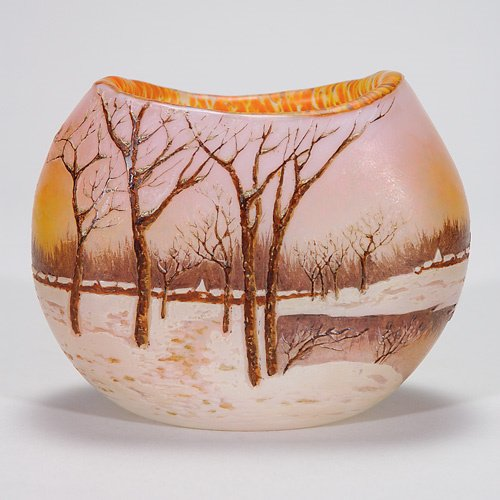 413: Legras scenic cameo vase, Winter, village, 4 1/4: