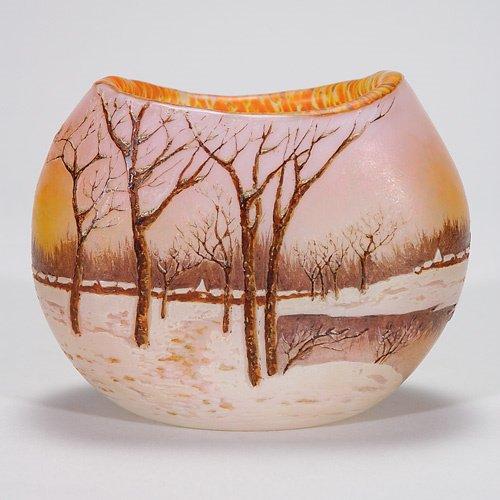 413: Legras scenic cameo vase, Winter, village, 4 1/4: