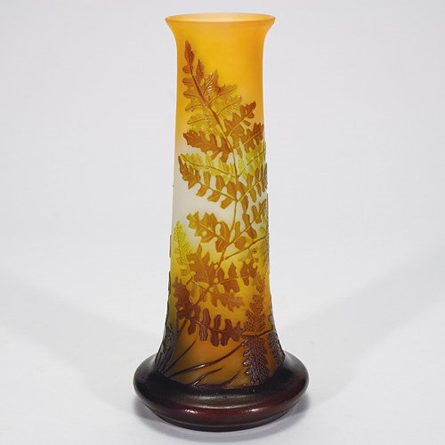 417: Galle' cameo vase, ferns, 9 5/8