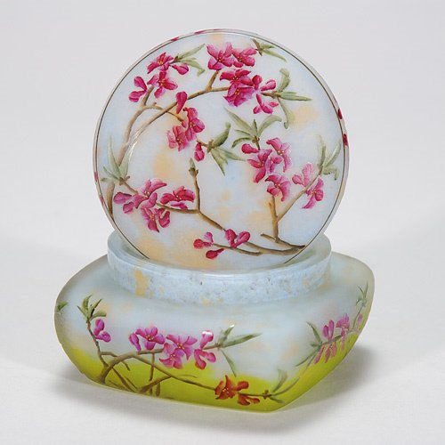 421: Daum Nancy cameo covered box, floral, 2 1/2X4, nic