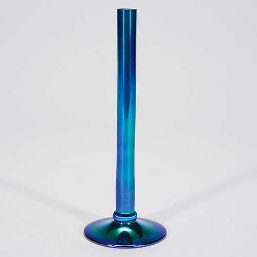559 Steuben Stick Vase Blue 7 34 Fully Signed Pin
