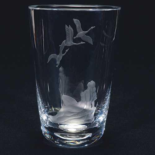 650 Orrefors Vase Crystal Geesenude 9 14 Signed