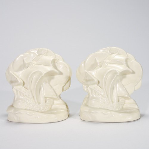 803: Rookwood Ship bookends, 5 1/2, Ivory Mat, 1936, #2