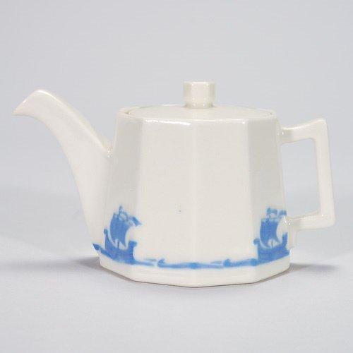 807: Rookwood 3 3/4 Blue Ship Dinnerware tea pot with l