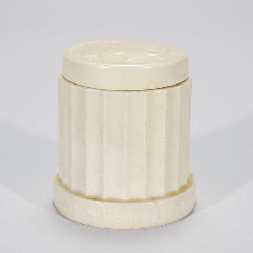 809: Rookwood Commercial ware 3 1/2 cigarette jar, 1937