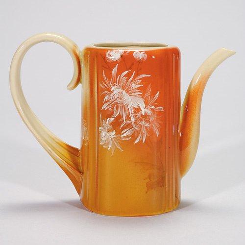 810: Rookwood Cameo Glaze 5 5/8 teapot, mums, 1890, HEW