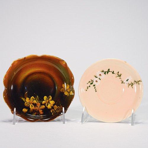 814: Rookwood: two saucers, 1887 Cameo Glaze by Sprague