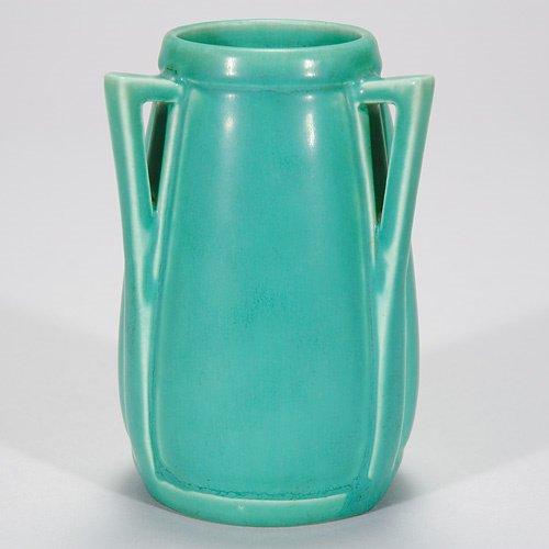 820: Rookwood mat green production vase, three handles,
