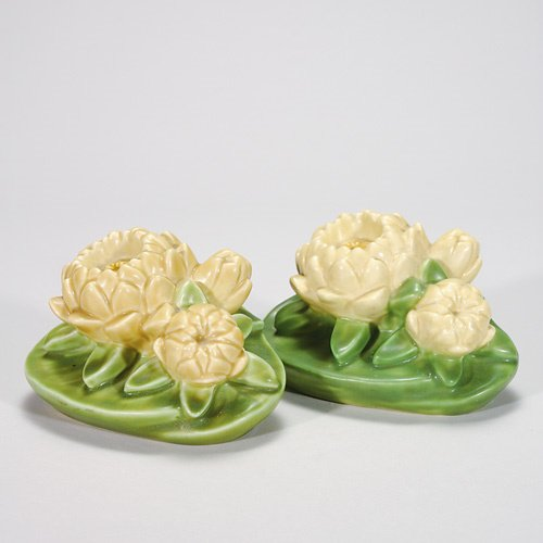 821: Rookwood Lotus 3 1/2 X 6 bookends, green and yello