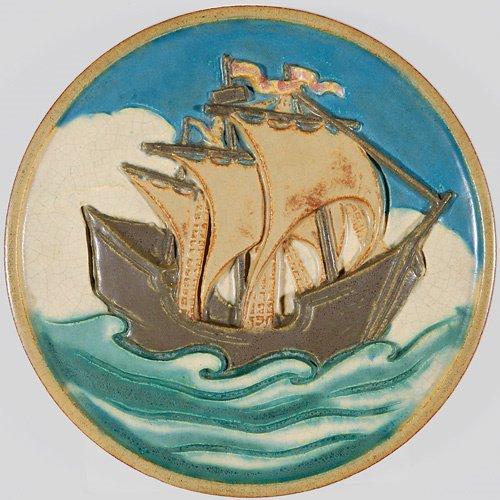 "1291: Rookwood faience tile, clipper ship, 12"""