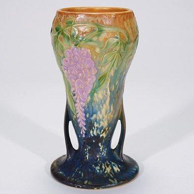 "1: Roseville Wisteria vase in blue, shape 635-8"""