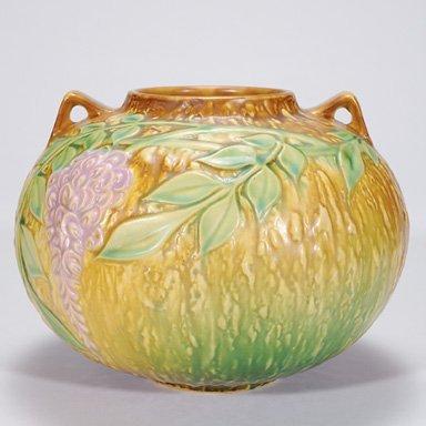 2: Roseville Wisteria vase in brown, 637-6 1/2