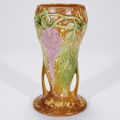 4: Roseville Wisteria vase in brown, shape 635-8