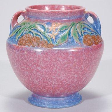 7: Roseville Baneda vase in pink, shape 591-6