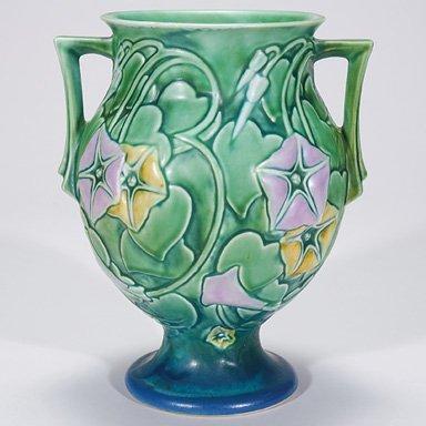 11: Roseville Morning Glory vase in green, 728-9, 9 1/4