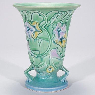 """12: Roseville Morning Glory vase, green, 726-8, 8 1/4"""""""