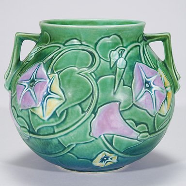 14: Roseville Morning Glory vase in green, 296-6