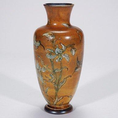 "367: Martin Brothers 9 1/2"" vase, flowers, birds"