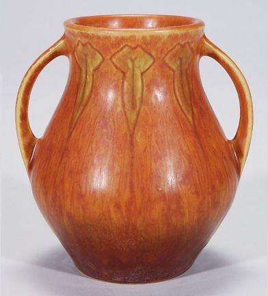 0019A: Roseville Windsor vase in brown, shape 545-5