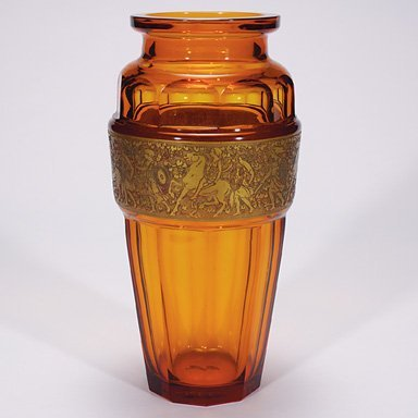 "500: Moser ""Sovereign"" vase, signed, 13 3/8"""