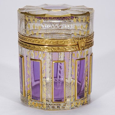 """502: Moser covered box, cut, gold designs, 5"""""""