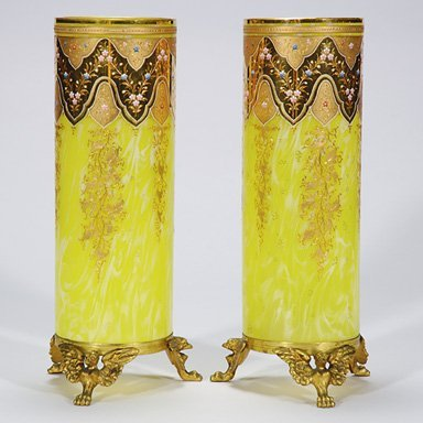 """504: Two vases, possibly Moser, metal bases, 14 3/8"""""""