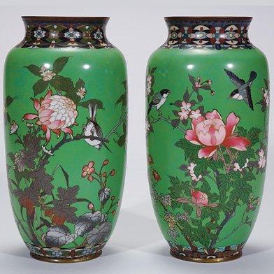 508: Japanese Cloisonne' vases, 2, birds, floral