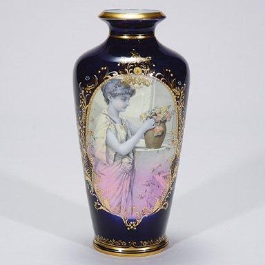 "509: Royal Vienna porcelain vase, beehive, 9 1/2"""