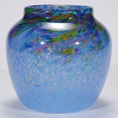 "513: Monart vase, blue w/heather, 8 1/2"""