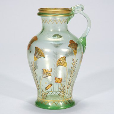 "514: Fritz Heckert jug, stylized florals,  7 7/8"""