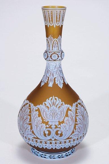 """519: English cameo vase,marked Webb, leaves, 12 3/4"""","""