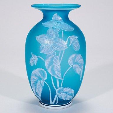 "520: English Florentine cameo vase, blue, 9"""