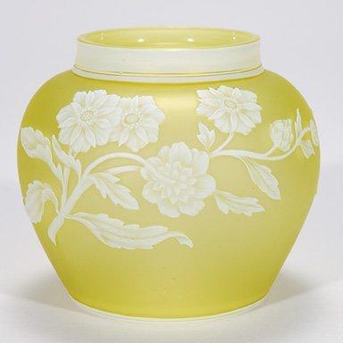 "522: Webb cameo vase, floral, citron, 4 5/8"""