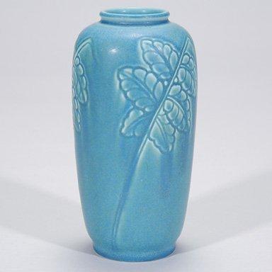 """1015: Rookwood 7"""" vase with leaf decoration by REM"""