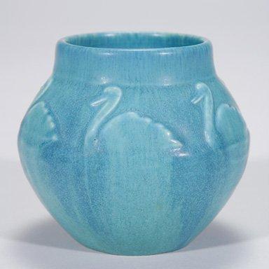 """1018: Rookwood blue mat production vase, swans, 3 1/2"""""""