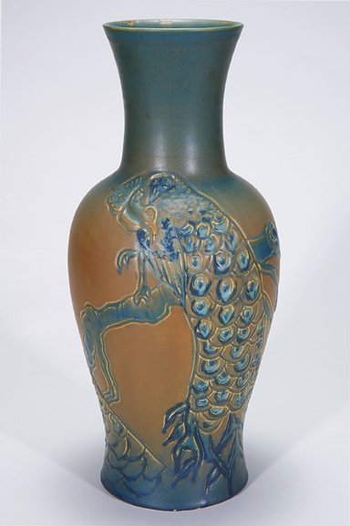 """1020: Rookwood 21 3/4"""" vase, carved peacock, CST"""