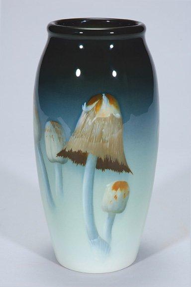 "1415: Rookwood Iris vase, mushrooms, Schmidt, 9 5/8"""