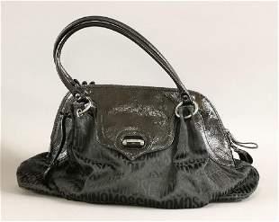 A Moschino black patent and logo fabric handbag
