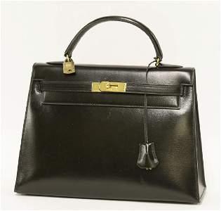 An Hermès 32 black box calf leather 'Kelly' handbag