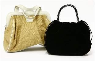 A Giorgio Armani black velvet evening bag