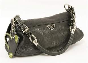 A Prada black grain calfskin leather flap handbag