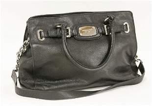 A Michael Kors black leather shopper handbag