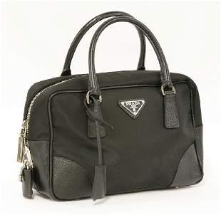 A Prada Milano black canvas tote handbag